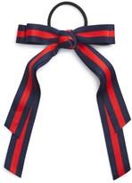 Cara Stripe Bow Ponytail Holder