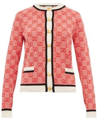 Gucci Gg Logo-jacquard Wool-blend Cardigan - Womens - Red Multi