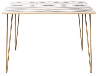 Bungalow Rose Jiminez Dining Table Table Top Boarder Color: Natural, Table Base Color: Black, Table Top Color: Pink/Blue