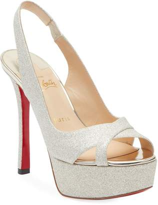 Christian Louboutin Postdam Glitter Platform Red Sole Sandals