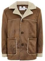 Topman Mens Brown Tan Faux Fur Shearling Jacket