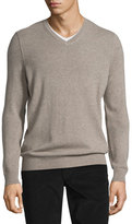 Vince Cashmere Long-Sleeve V-Neck Sweater, Heather Maple