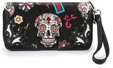 Cowgirl Trendy Concealed Carry Day of The Dead Punk Sugar Skull Purse Handbag Shoulder Bag Wallet Set New