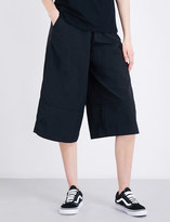 Izzue High-rise wide-leg shell culottes