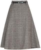 MFrannie Women Vintage Check Woolen Autumn Winter Midi Skirt With Belt L