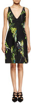 Proenza Schouler Sleeveless Floral-Print Sheath Dress, Black/Green/Chartreuse