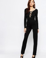 Club L Jumpsuit with Extreme Lace Up Detail