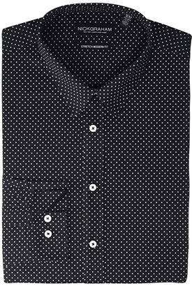 Nick Graham Pin Dot Stretch Dress Shirt (Black) Men's Long Sleeve Button Up