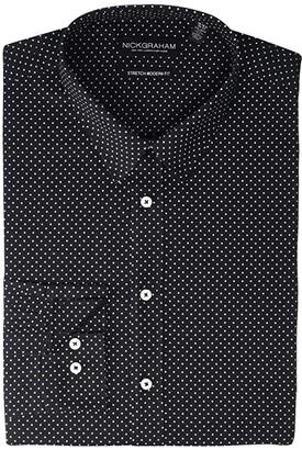 Nick Graham Pin Dot Stretch Dress Shirt (Black) Men's Long Sleeve Button Up