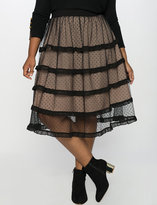 ELOQUII Plus Size Sheer Ruffle Tulle Skirt