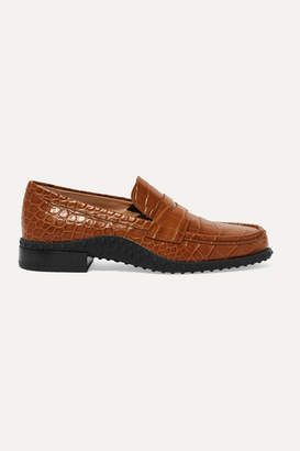 Tod's Croc-effect Leather Loafers - Tan