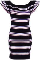 MSGM Striped Jacquard Knit Ruffled Dress