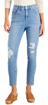 Style&Co. Style & Co High-Rise Distressed Skinny Ankle Jeans, Created for Macy's