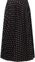 Balenciaga Sunray Pleated Printed Satin Skirt - Black