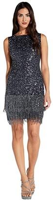 Adrianna Papell Sleeveless Fringe Beaded Cocktail Dress (Midnight) Women's Dress