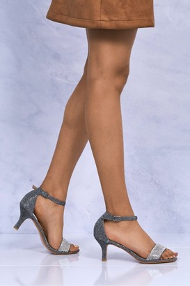 Miss Diva Maddi Medium Heel Ankle Strap Sandal In Grey