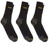 Caterpillar New Mens Black 3 Pack Work Cotton/Polyester Socks Boot
