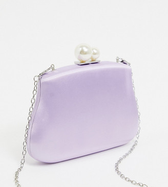 True Decadence Exclusive pastel box clutch bag with pearl twist lock fastening and detachable strap