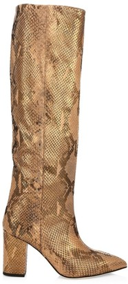 Paris Texas Knee-High Lame Python-Embossed Leather Boots