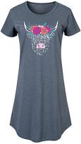 Instant Message Women's Women's Tee Shirt Dresses HEATHER - Heather Blue Highland Cow Flower Crown Short-Sleeve Dress - Women & Plus