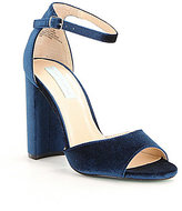 Betsey Johnson Blue by Carly Velvet Block Heel Dress Sandals