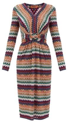 Missoni Glitter-chevron Twisted-waist Wool-blend Dress - Burgundy Multi