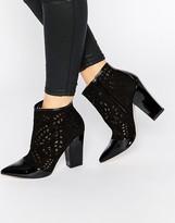 Little Mistress Chaplin Laser Cut Heeled Ankle Boots