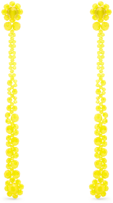 Crystal-flower drop earrings