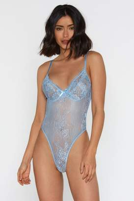 Nasty Gal Womens Lace Orders Cupped Bodysuit - blue - L