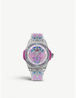 Hublot 465SX2090VR1299MEX18 Big Bang One Click Calavera Catrina stainless steel, leather and rubber watch