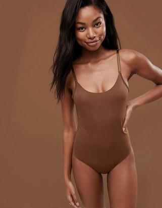 Nubian Skin Naked Collection Nude Bodysuit In Dark