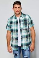 boohoo Short Sleeve Bleach Splatter Check Shirt green