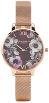 Olivia Burton Women's Poppy Flower Rose Gold Mesh Watch Rose Gold
