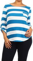 Bubble B Women's Jr. Plus Size Long Sleeve Striped Boat Neck Top White