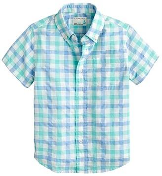 crewcuts by J.Crew Short Sleeve Textured Plaid Shirt (Toddler/Little Kids/Big Kids) (White/Blue Multi) Boy's Clothing
