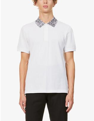 Fendi Branded-collar slim-fit cotton polo shirt