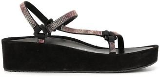 Pedro Garcia low wedge heel embellished slides