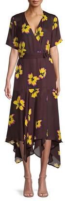 A.L.C. Claire Floral Silk Handkerchief Dress