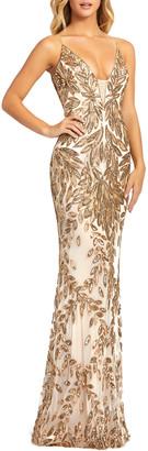 Mac Duggal Sequin Leaf Plunging Sheath Gown