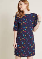 Sugarhill Boutique Love Me Doodle Ruffled Shift Dress in 6 (UK) - Mini by from ModCloth
