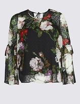 M&S Collection PLUS Floral Print Long Sleeve Blouse