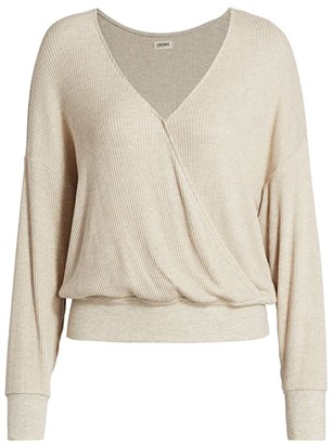 L'Agence Amber Ribbed Long-Sleeve Wrap Top