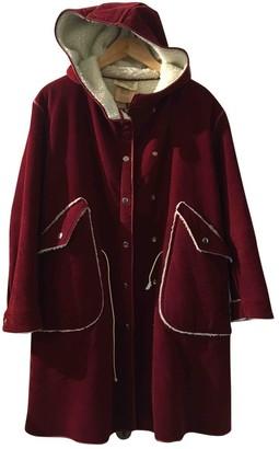 Courreges Burgundy Cotton Coat for Women Vintage
