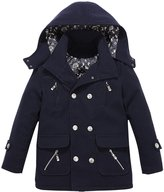 XiaoYouYu Big Boy's Cool Stand Collar Hooded Peacoat Jacket US Size 16