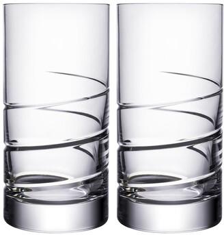 Orrefors Swerve Set of 2 Lead Crystal Highball Glasses