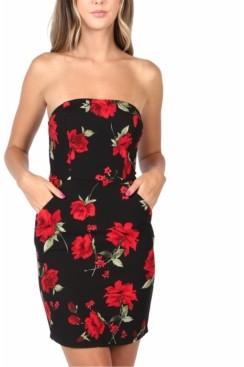 B. Darlin Juniors' Strapless Floral-Print Dress