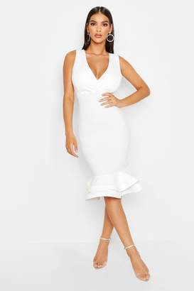 boohoo Wrap Sleeveless Fishtail Ruffle Midi Dress