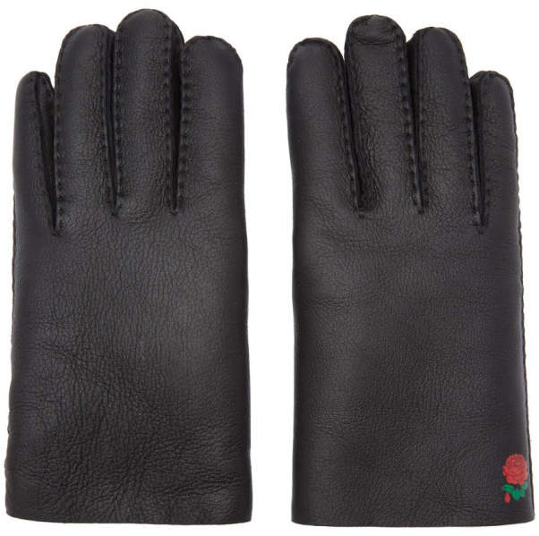Undercover Black Shearling Rose Gloves