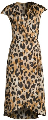 Gottex Swim Leopard Print Silk Chiffon Wrap Dress