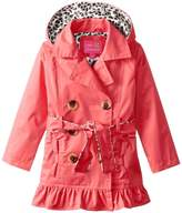 Pink Platinum Little Girls' Toddler Leopard Lining Trench Raincoat Jacket